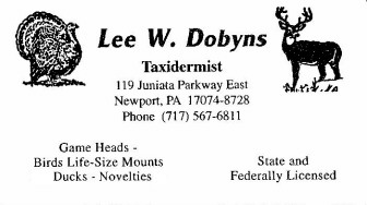 Lee dobyns taxidery newport pa 717 567 6811 click here to print business card colourmoves